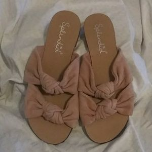 Splendid Dusty Rose Suede Knotted Slide. Sz 6.5